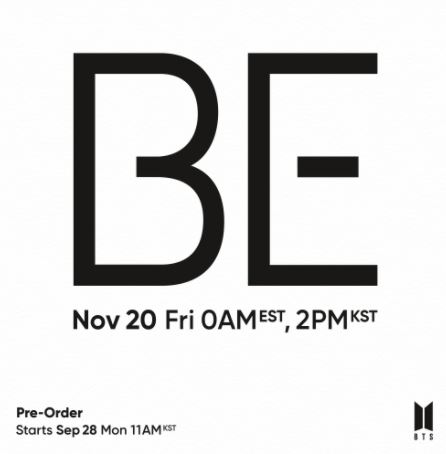 K-pop stars BTS will release their new album called BE in November!